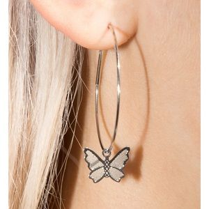 🌟 NEW Brandy Melville Silver Butterfly Hoops